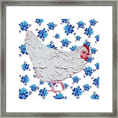 White Chicken On Blue Rose Background Framed Print