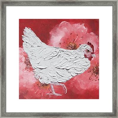 White Chicken On Cherry Blossom Background Framed Print by Jan Matson