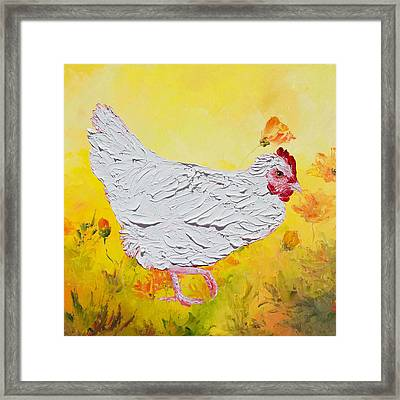 White Chicken On Yellow Floral Background Framed Print by Jan Matson