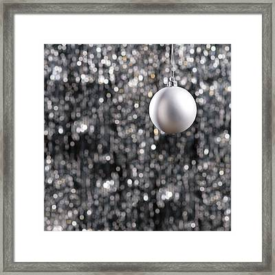 Framed Print featuring the photograph White Christmas Bauble  by Ulrich Schade