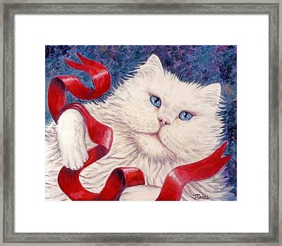 White Christmas Cat Framed Print by Linda Mears