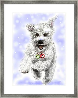 White Christmas Doggy Framed Print