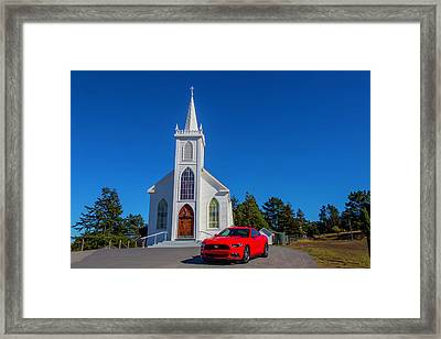White Church And Mustang Framed Print by Garry Gay