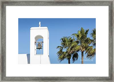 White Church And Palms, Agia Napa, Cyprus Framed Print