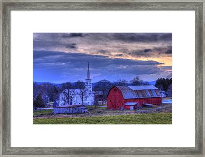 White Church And Red Barn - Peacham Vermont Framed Print by Joann Vitali