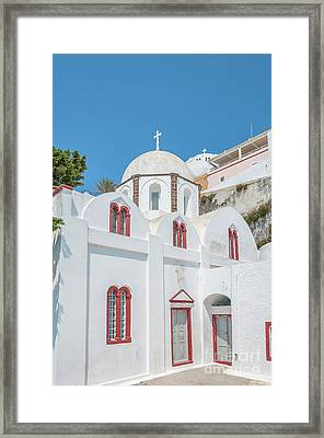 Framed Print featuring the photograph White Church At Fira by Antony McAulay