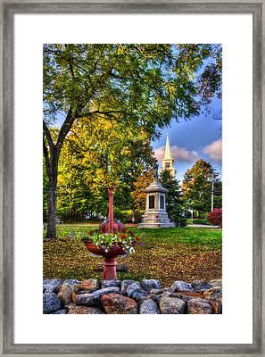 White Church In Autumn - Hopkinton Nh Framed Print