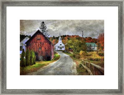 White Church In Autumn - Vermont Country Scene Framed Print