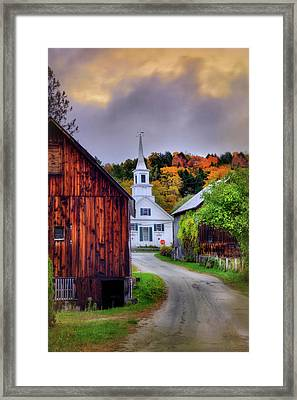Framed Print featuring the photograph White Church In Autumn - Waits River Vermont by Joann Vitali