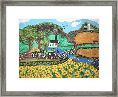Framed Print featuring the painting White Church by Jeffrey Koss