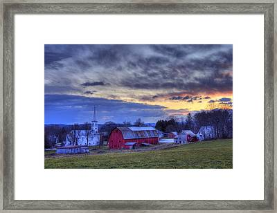 White Church Red Barn Country Scene - Peacham Vermont Framed Print by Joann Vitali