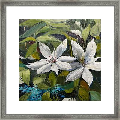Framed Print featuring the painting White Clematis by John Williams