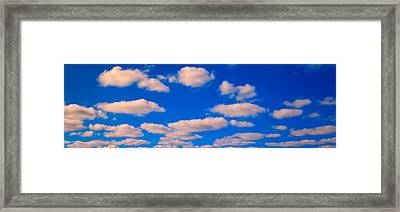 White Clouds In Blue Sky Framed Print