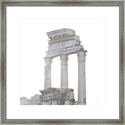 White Columns Temple Of Castor And Pollux In The Forum Rome Italy Framed Print by Andy Smy