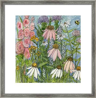 Framed Print featuring the painting White Coneflowers In Garden by Laurie Rohner