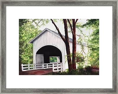 White Covered Bridge Framed Print by Yvonne Hazelton