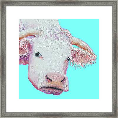 White Cow On Turquoise  Framed Print by Jan Matson