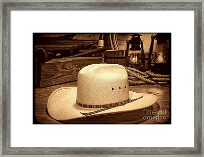 White Cowboy Hat In A Barn Framed Print