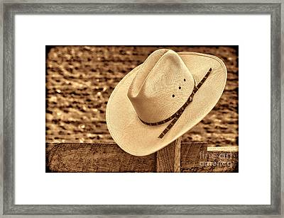 White Cowboy Hat On Fence Framed Print