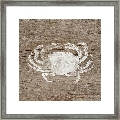 White Crab On Wood- Art By Linda Woods Framed Print