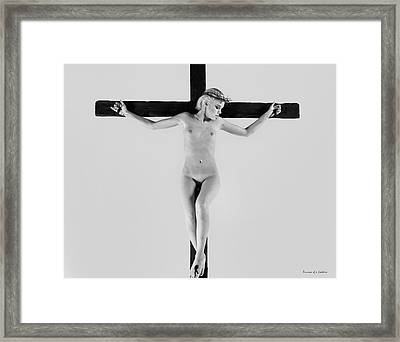 White Crucifix I Framed Print