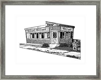 White Crystal Diner Nj Sketch Framed Print by Edward Fielding