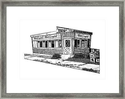 White Crystal Diner Nj Sketch Framed Print