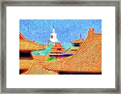 White Dagoba View Framed Print by Dennis Cox