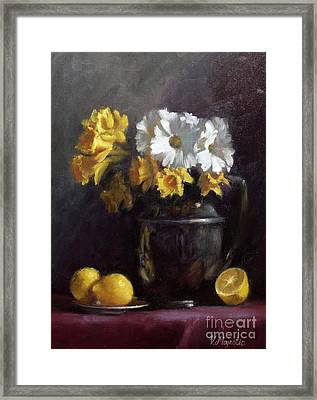 White Daisies And Daffodils  Framed Print