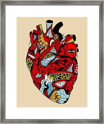 White Diamond Heart Framed Print by Kenal Louis