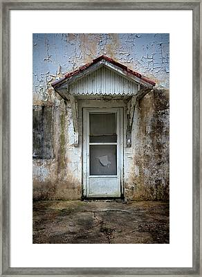 White Door And Torn Screen Framed Print