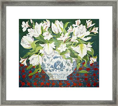 White Double Tulips And Alstroemerias Framed Print by Jennifer Abbot