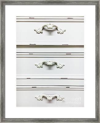 White Drawers Detail Framed Print by Tom Gowanlock