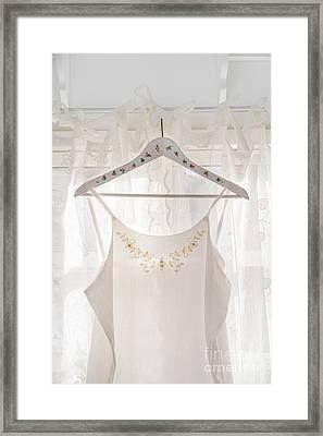 White Dress On Clothes Hanger Framed Print by Elisabeth Coelfen