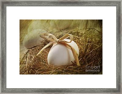 White Egg With Straw Bow In Nest Framed Print by Sandra Cunningham