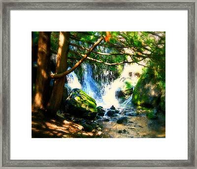 White Falls Framed Print