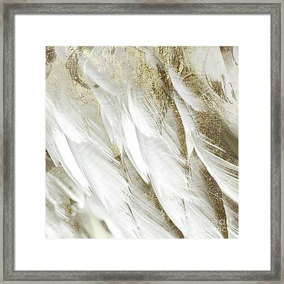 White Feathers With Gold Framed Print by Mindy Sommers