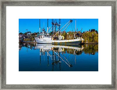 White Fishing Boat Reflection Framed Print by Garry Gay