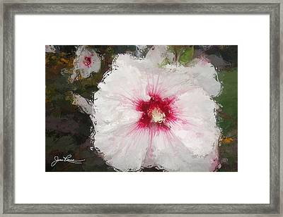 Framed Print featuring the painting White Flower by Joan Reese