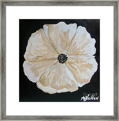 White Flower On Black Framed Print by Marsha Heiken