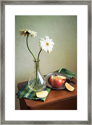 White Flowers And Red Apples Framed Print