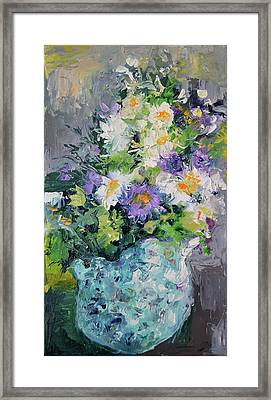 White Flowers, Modern Relief Painting Framed Print by Soos Roxana Gabriela