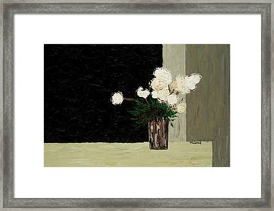 White Flowers On Black And Neutral Framed Print by Timothy Clayton