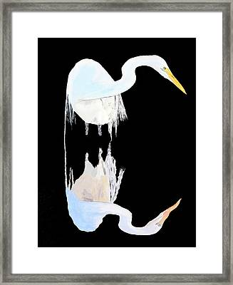 Framed Print featuring the painting White Heron by Eric Kempson