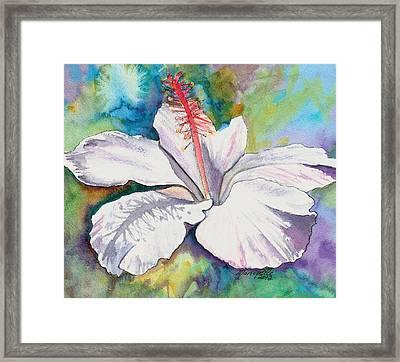 White Hibiscus Waimeae Framed Print