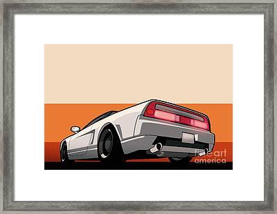 White Honda Acura Nsx Framed Print by Monkey Crisis On Mars