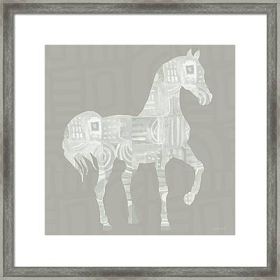 White Horse 1- Art By Linda Woods Framed Print by Linda Woods