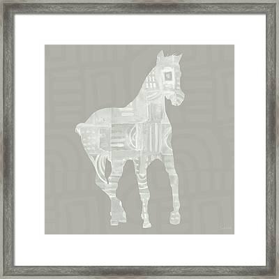 White Horse 3- Art By Linda Woods Framed Print by Linda Woods