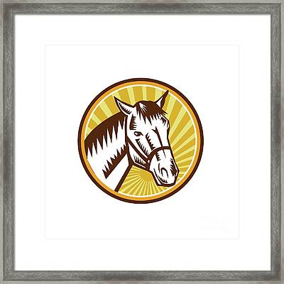 White Horse Head Sunburst Circle Woodcut Framed Print