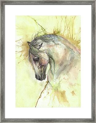 White Horse On Golden Background 2017 06 02 Framed Print